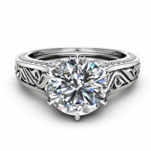 2 Carat Moissanite Engagement Ring Filigree Design Moissanite Ring 14K White Gold Engagement Ring