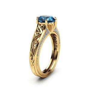 Topaz Unique Engagement Ring 14K Yellow Gold 2ct Topaz Ring Vintage Unique Engagement Ring