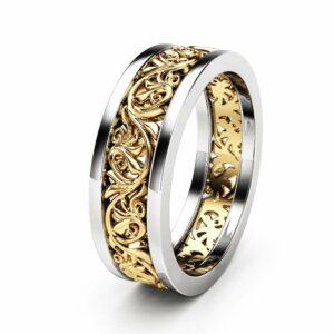 Unique Filigree Wedding Band Unique 14K Two Tone Gold Ring Unisex Wedding Band Ring For Him For Her