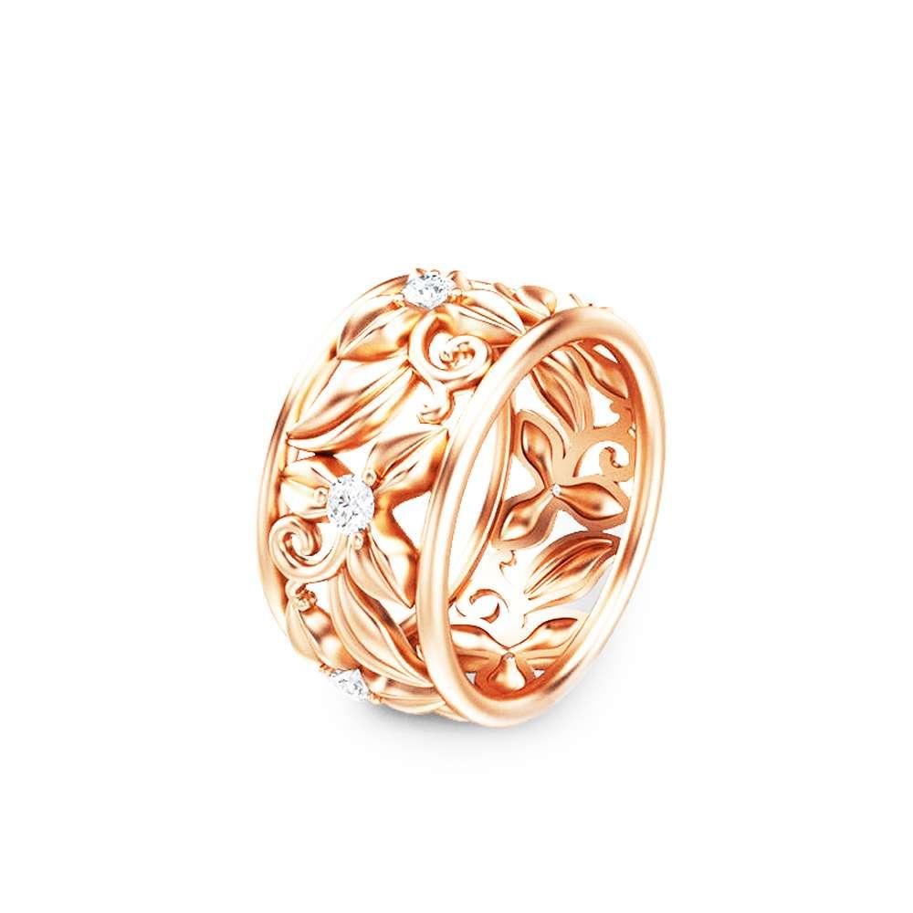 14K Rose Gold Diamond Anniversary Band Eternity Diamond Wedding Band Unique Flower Engagement Ring