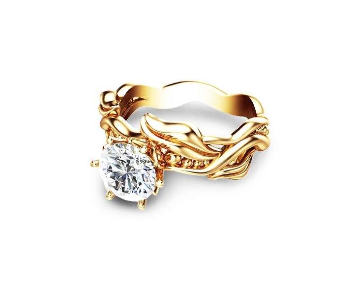 Moissanite Leaves Engagement Ring 14K Yellow Gold Engagement Ring Solitaire Moissanite Ring