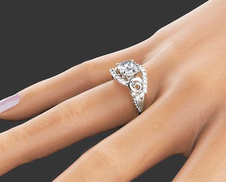 1.55CT Moissanite Engagement Ring Set Unique 14K White Gold Moissanite Rings Flower and Wedding Engagement Ring