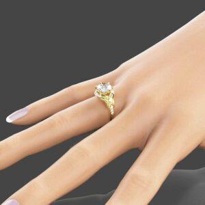2ct Moissanite Vintage Engagement Ring 14K Yellow Gold Engagement Ring Vintage Moissanite Ring