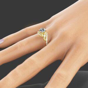Half Eternity Engagement Ring 14K Yellow Gold 1CT Moissanite Ring Half Eternity Diamond Ring