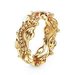Leaf Design Yellow Gold Wedding Ring 14k Yellow Gold Wedding Band Commitment Ring