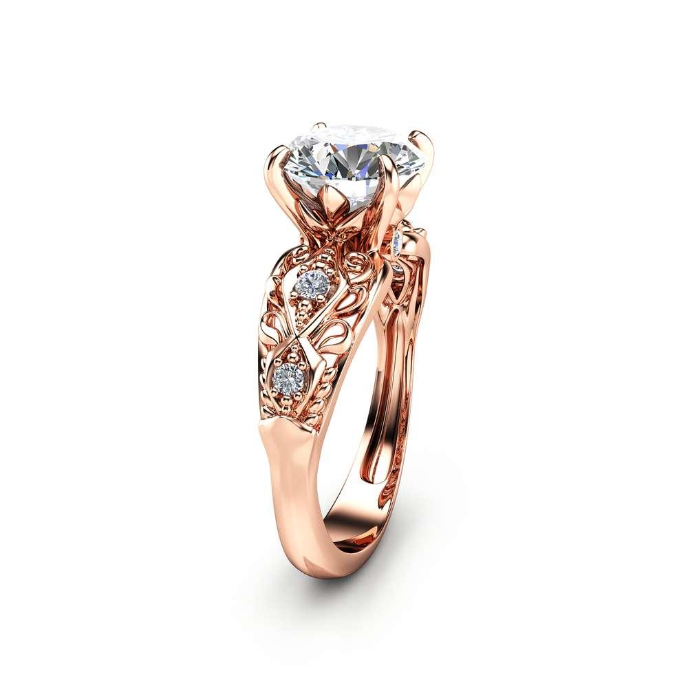 Forever Brilliant Moissanite Engagement Ring Filigree 14K Rose Gold Engagement Ring Unique Design Moissanite Ring