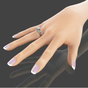 Unique Engagement Ring 14K White Gold Moissanite Ring 2 Carat Engagement Ring Unique Moissanite Ring