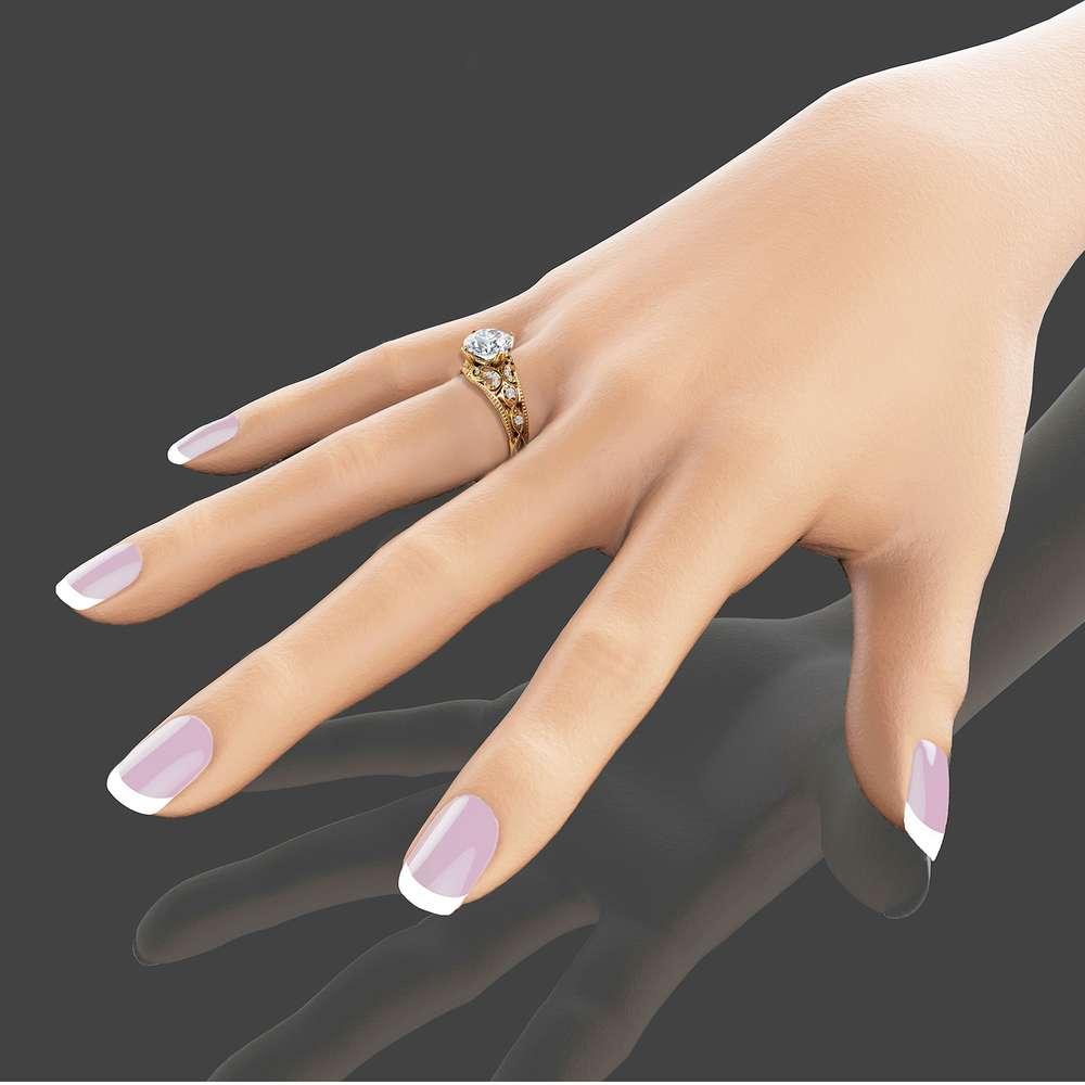 2 Carat Moissanite Engagement Ring Unique 14K Yellow Gold Ring Filigree Design Alternative Ring Art Deco Engagement Ring