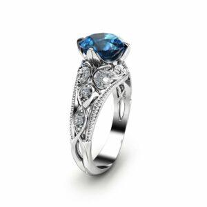 London Blue Topaz Engagement Ring 14K White Gold Alternative Ring Unique 2 Carat Topaz Ring Filigree Engagement Ring