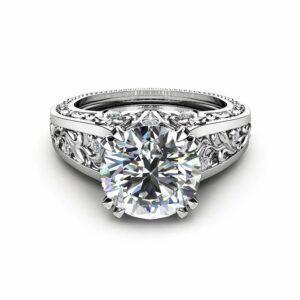 Filigree Design Moissanite Engagement Ring Unique 2 Carat Moissanite Ring Solid 14K White Gold Ring Art  Deco Engagement Ring