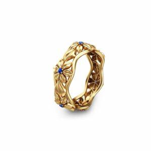 Blue Sapphire Eternity Wedding Band 14K Yellow Gold Flower Ring
