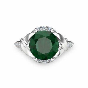 Natural Emerald Wedding Engagement Ring 14K White Gold Engagement Ring Unique 2 Carat Emerald Ring