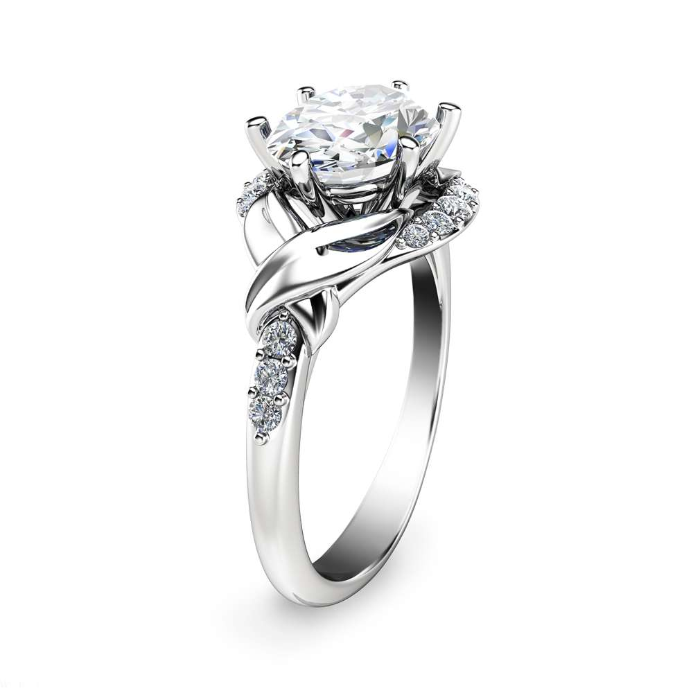 Oval Moissanite Engagement Ring 14K White Gold Oval Engagement Ring Wedding Engagement Ring
