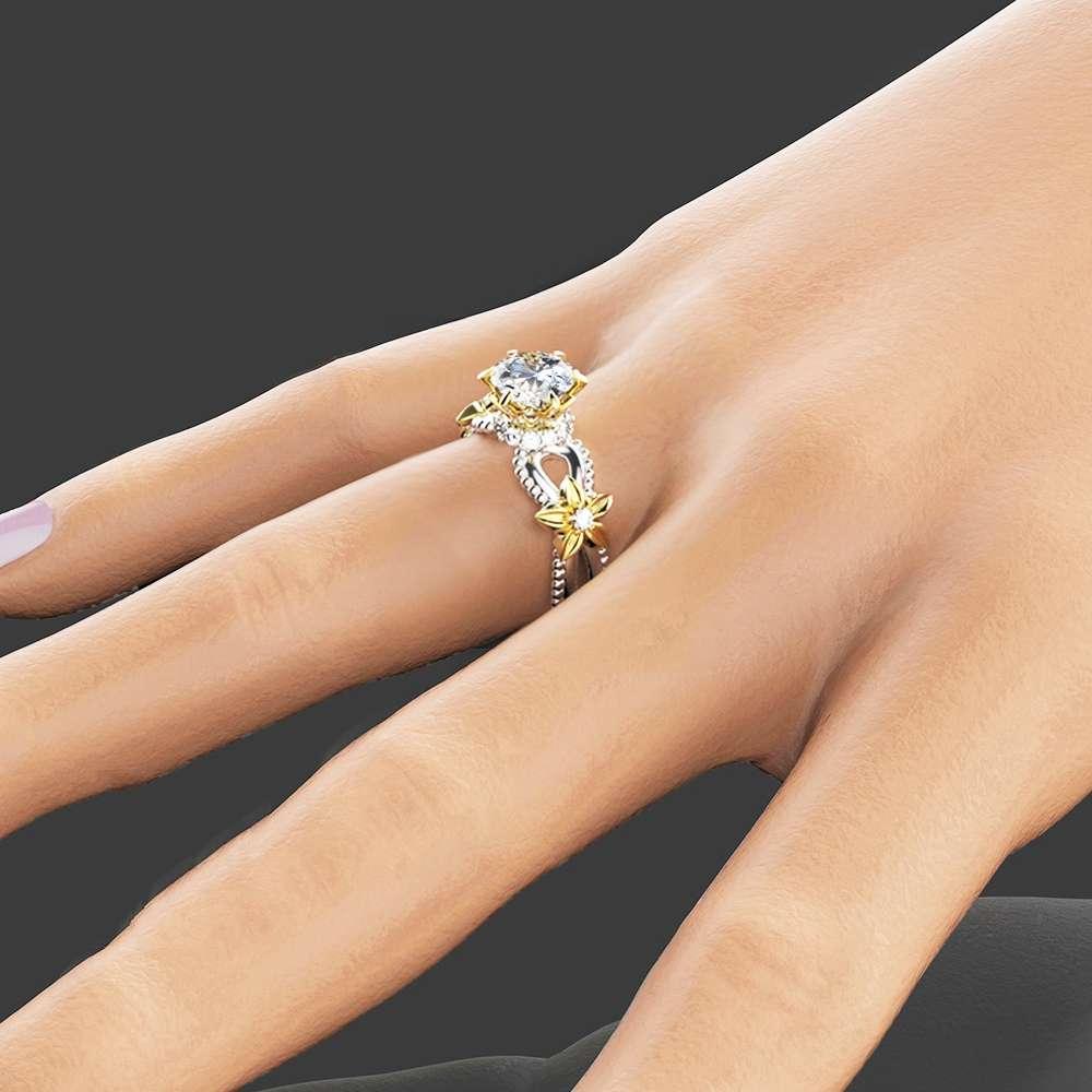 Moissanite Unique Engagement Ring 14K Two Tone Gold Engagement Ring Unique Moissanite Ring