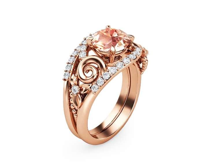 14K Rose Gold Morganite Engagement Rings 1.7CT Morganite Engagement Ring Set Floral Morganite Rings