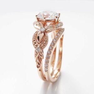 Unique Moissanite Engagement Ring Set 14K Rose Gold Engagement Rings Vintage Floral Moissanite Rings