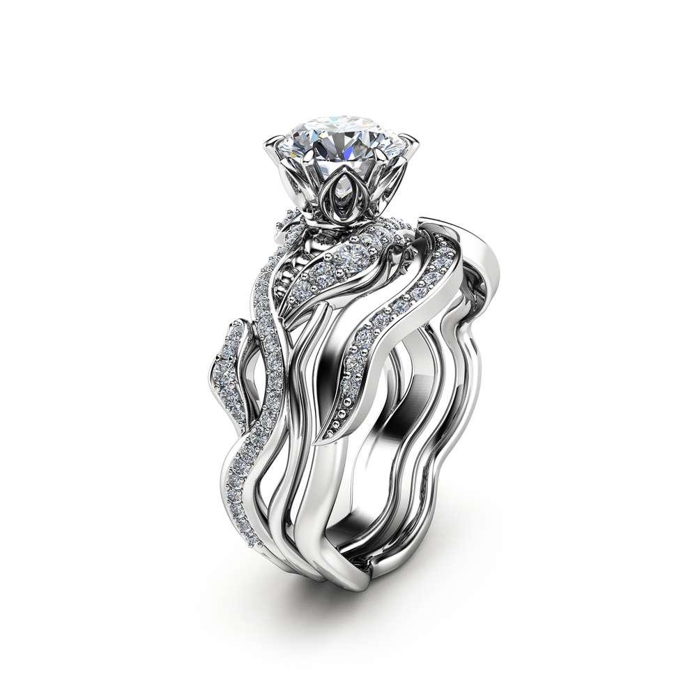 Moissanite Engagement Ring Set Wedding Engagement Rings 14K White Gold Moissanite Ring with Matching Band