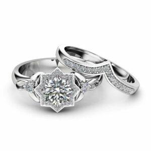 Natural Diamond Engagement Ring Set 14K White Gold Flower Rings 0.75Ct Diamond Engagement Ring with Matching Band