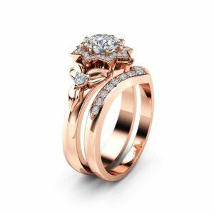 Natural Diamond Engagement Ring Set 14K Rose Gold Flower Rings 0.75Ct Diamond Engagement Ring with Matching Band