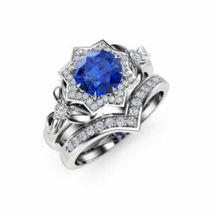 Natural Sapphire Engagement Ring Set 14K White Gold Flower Rings 1CT Sapphire Engagement Ring with Matching Band