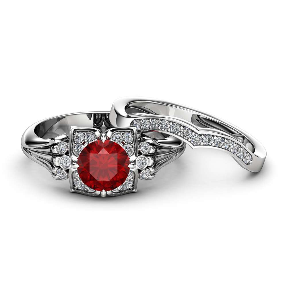 Modern Ruby Engagement Ring Set 14K White Gold Engagement Rings Leaf Ruby Ring with Matching Band