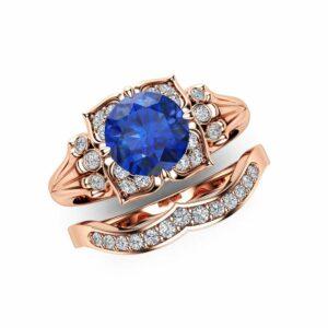 Modern Sapphire Engagement Ring Set 14K Rose Gold Engagement Rings Leaf Sapphire Ring with Matching Band