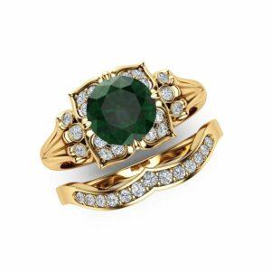 Modern Emerald Engagement Ring Set 14K Yellow Gold Engagement Rings Leaf Emerald Ring with Matching Band
