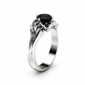 Black Diamond Modern Engagement Ring 14K White Gold Engagement Ring Black Diamond Leaf Ring