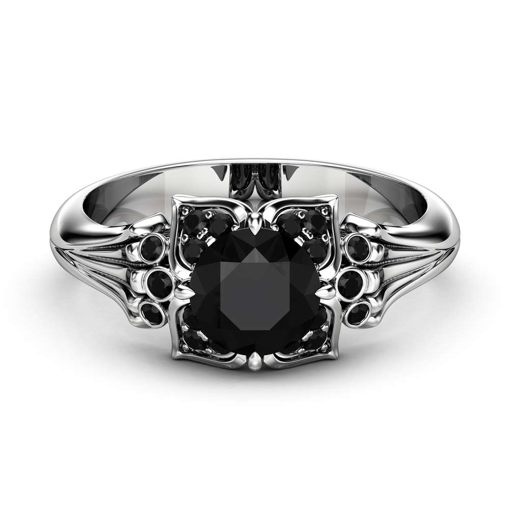 Black Diamond Modern Engagement Ring 14K White Gold Engagement Ring Black Diamond Leaf Ring