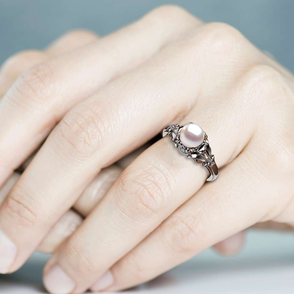 Pearl Engagement Ring White Gold Ring Leaf Engagement Ring Gold Pearl Ring