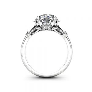 Unique Moissanite Engagement Ring 14K White Gold Engagement Rin
