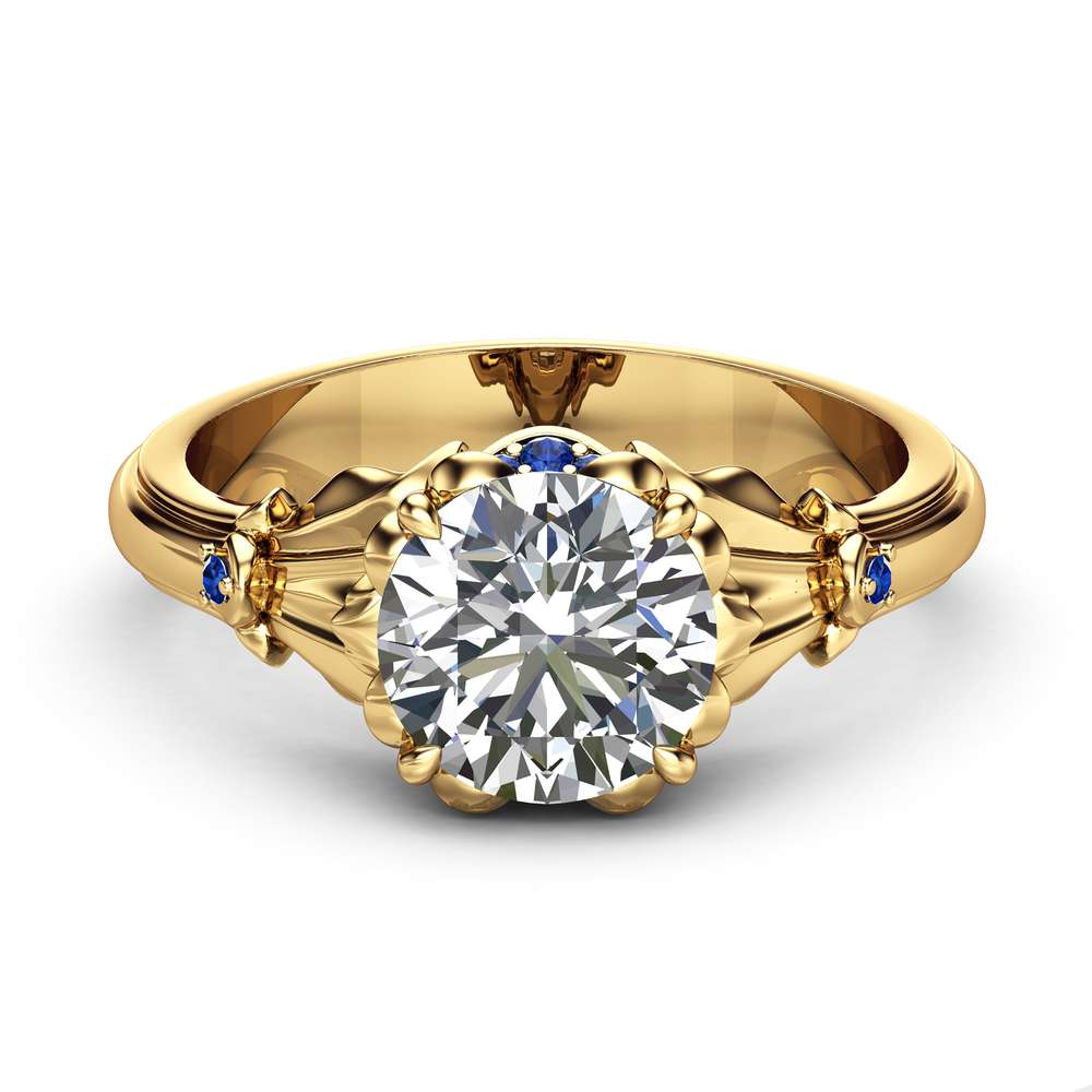 Moissanite Petal Engagement Ring 14K Yellow Gold Petal Ring 2 Carat Moissanite Engagement Ring with Sapphires