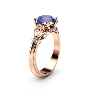Tanzanite Petal Engagement Ring 14K Rose Gold Petal Ring 2 Carat Natural Tanzanite Engagement Ring