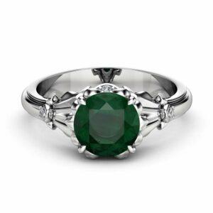 Emerald Petal Engagement Ring 14K White Gold Petal Ring 2 Carat Natural Emerald Engagement Ring
