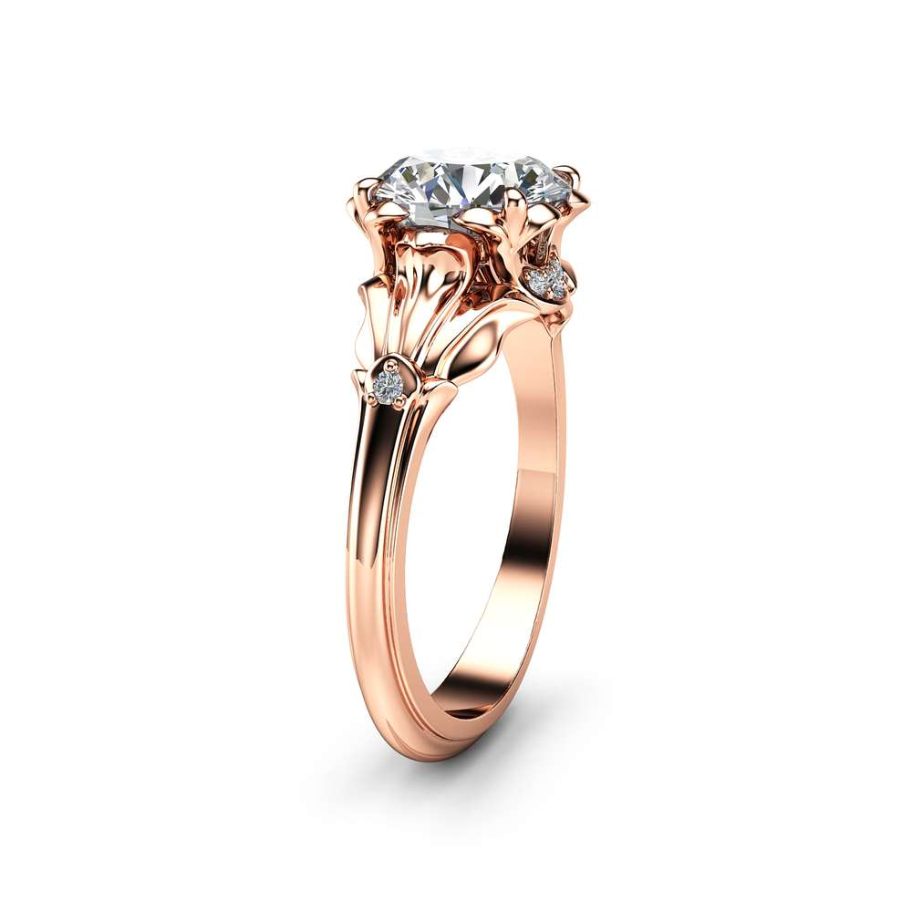 Unique Moissanite Petal Engagement Ring 14K Rose Gold Ring Unique 2 Carat Moissanite Engagement Ring