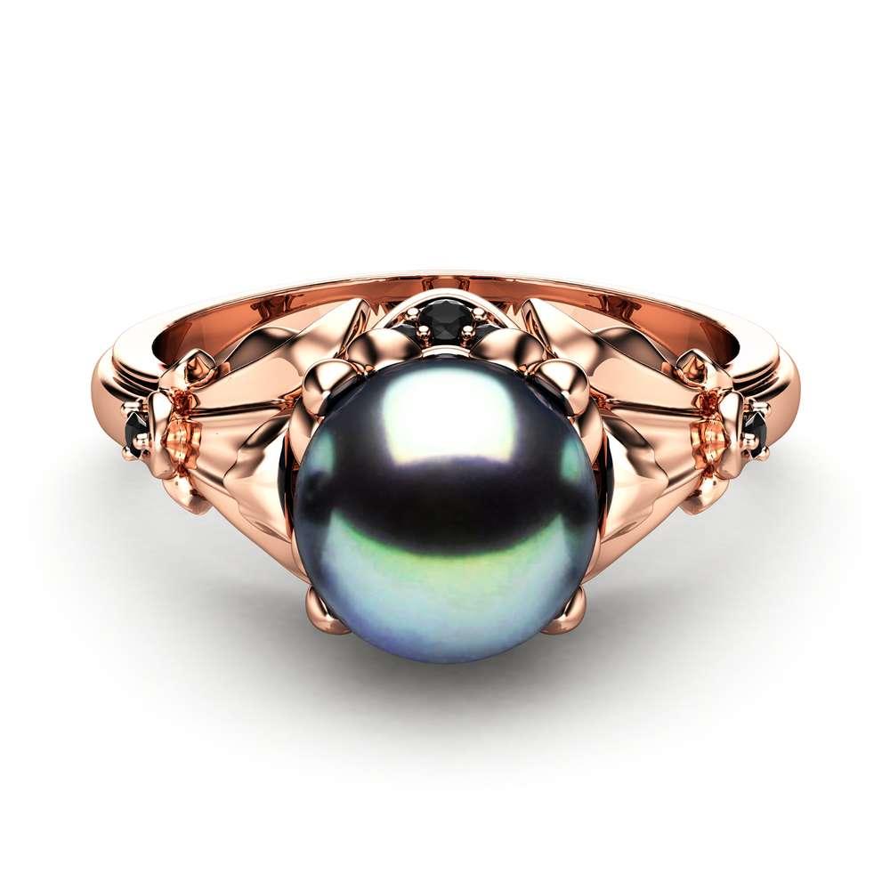Black Pearl Engagement Ring Rose Gold Ring Leaf Engagement Ring Gold Pearl Ring