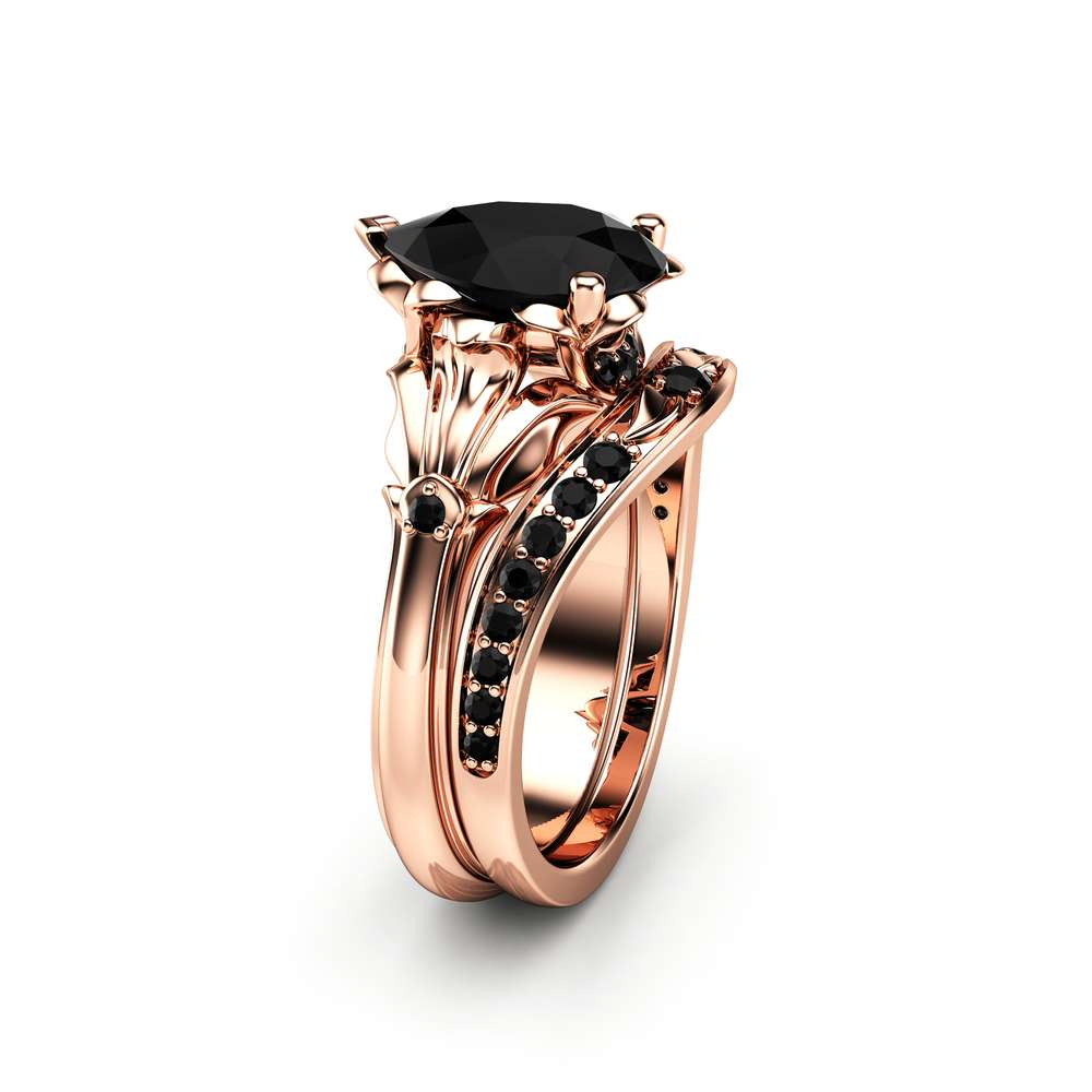 Pear Black Diamond Engagement Ring Set 14k Rose Gold Petal Rings Pear Cut Ring With Matching Diamond Band Camellia Jewelry For That Yes Moment