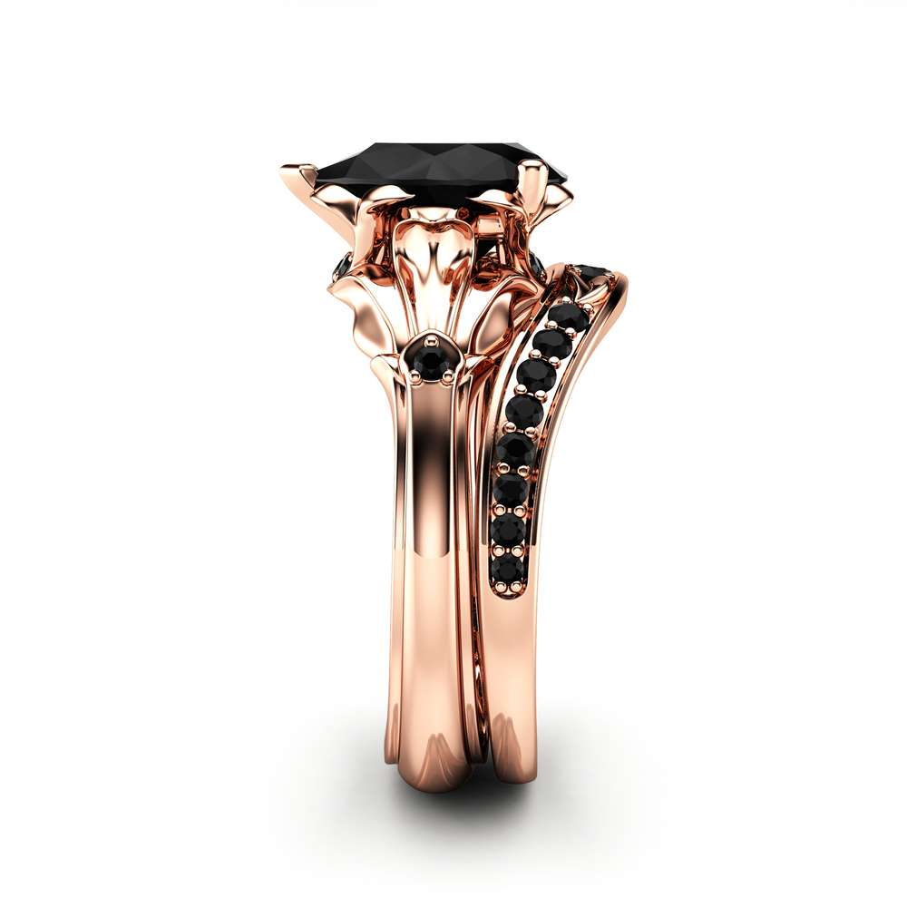 Pear Black Diamond Engagement Ring Set 14K Rose Gold Petal Rings Pear Cut Ring with Matching Diamond Band