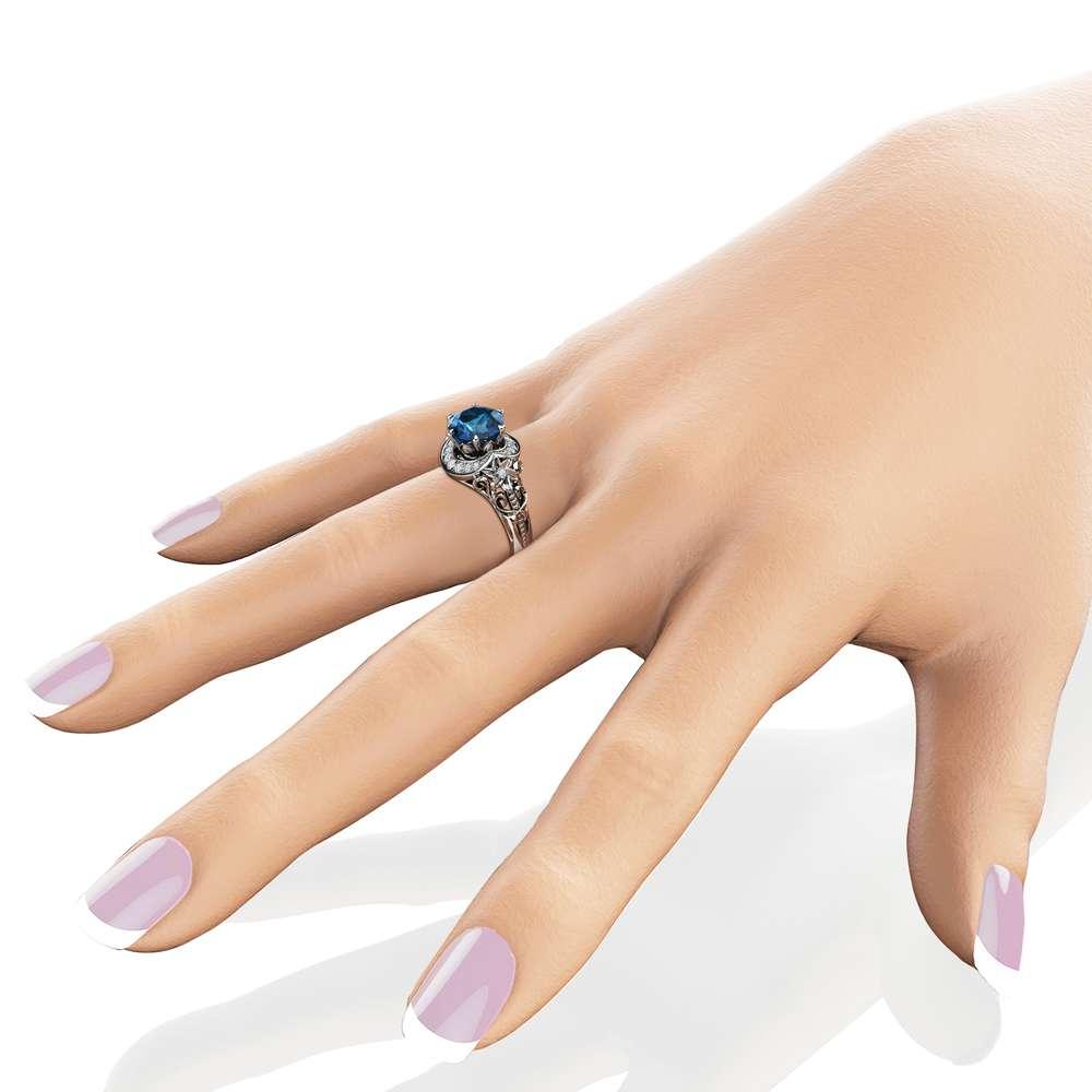 Nature Inspired Topaz Engagement Ring 14K White Gold Halo Ring Topaz Floral Engagement Ring
