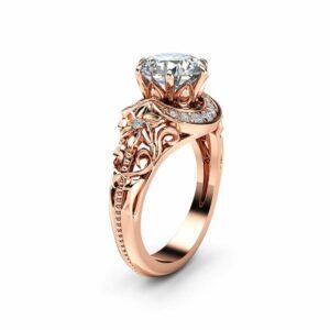 Nature Inspired Moissanite Engagement Ring 14K Rose Gold Halo Ring Moissanite Floral Engagement Ring