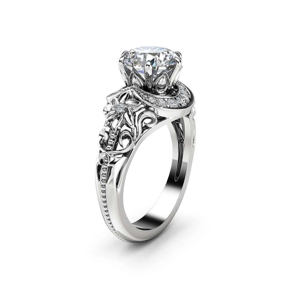 Nature Inspired Moissanite Engagement Ring 14K White Gold Halo Ring Moissanite Floral Engagement Ring
