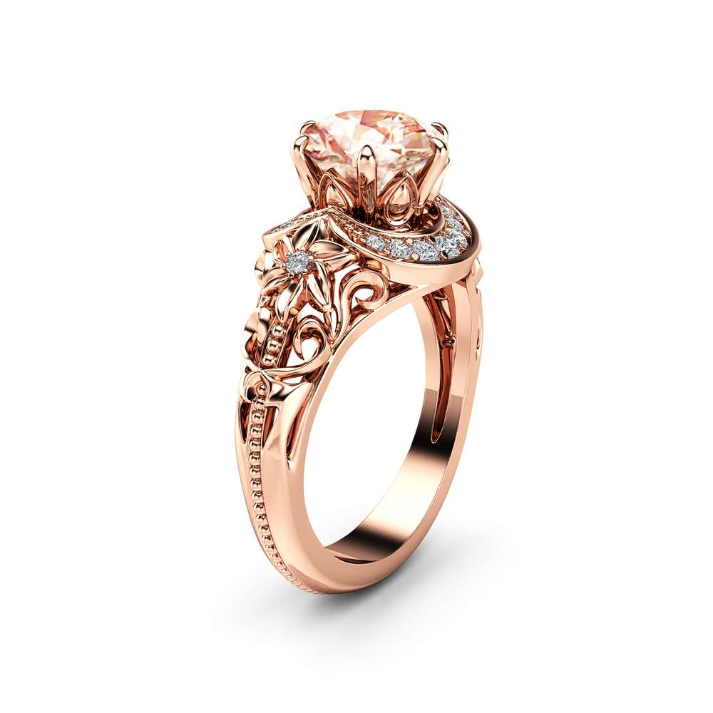 Nature Inspired Morganite Engagement Ring 14K Rose Gold Halo Ring Morganite Floral Engagement Ring