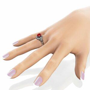 Unique Garnet Engagement Ring 14K White Gold Ring 2 Carat Garnet Halo Ring Floral Engagement Ring