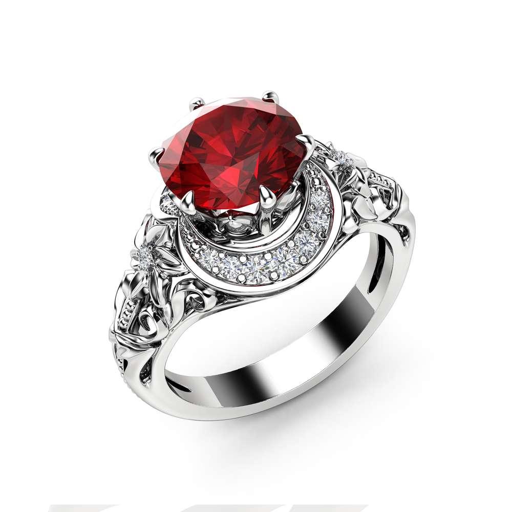 2 Carat Ruby Engagement Ring 14K White Gold Halo Ring Ruby Floral Engagement Ring