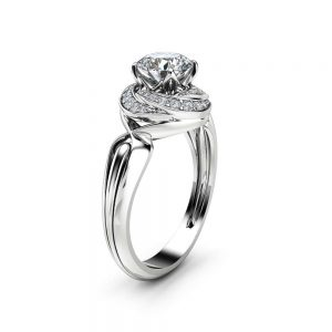 0.75Ct Diamond Engagement Ring 14K White Solid Gold Halo Ring Unique Diamond Halo Engagement Ring