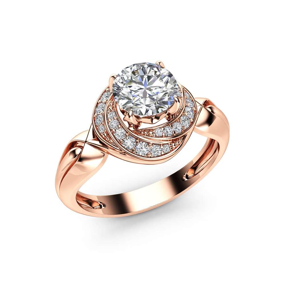0.7Ct Diamond Engagement Ring 14K Rose Gold Unique Spiral Halo Ring Diamond Halo Engagement Ring