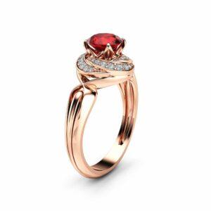 Halo Natural Ruby Engagement Ring 14K Rose Gold Ring Unique Spiral Halo Engagement Ring