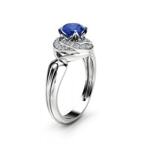 Natural Blue Sapphire Engagement Ring 14K White Gold Ring Unique Diamond Spiral Halo Engagement Ring