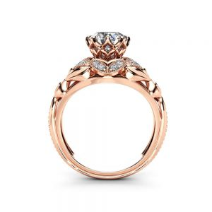 Moissanite Designer Engagement Ring 14K Rose Gold Engagement Ring Diamond Alternative Designer Ring