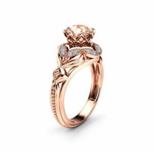 Morganite Designer Engagement Ring 14K Rose Gold Engagement Ring Morganite Designer Ring